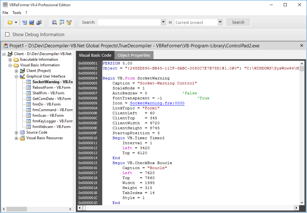 Screenshot 4 of VBReFormer - Visual Basic decompiler