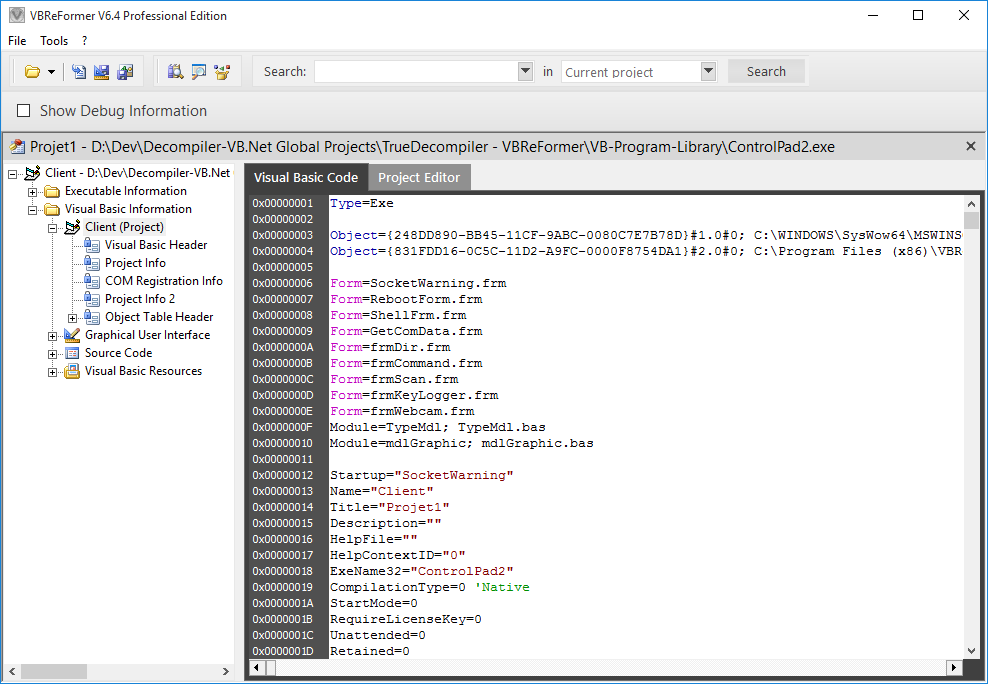 Screenshot 8 of VBReFormer - Visual Basic decompiler
